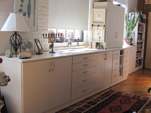 Antique White Cabinets For Artist's Studio