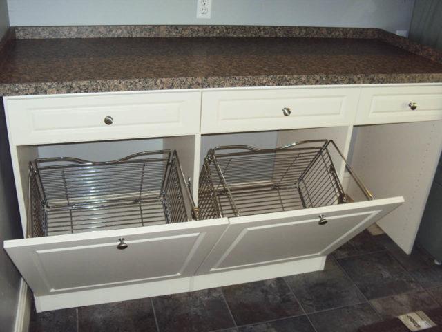 Double White Tilt Out Hampers Laundry Folding Area
