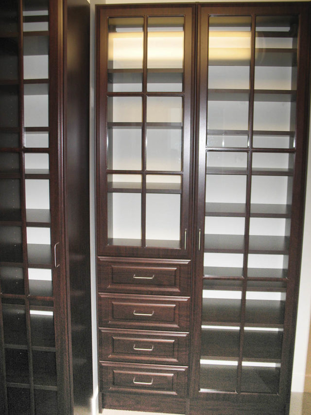 Mahogany Cabinetry With Glass Doors