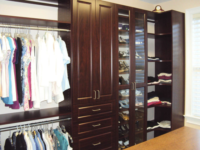 Mahogany Square Raised Panel Slanted Shoe Shelves With Glass Doors