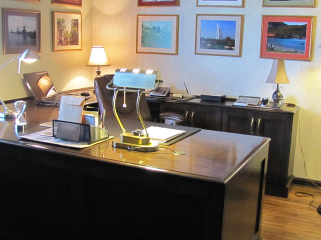 Stained Wood Desk And Credenza