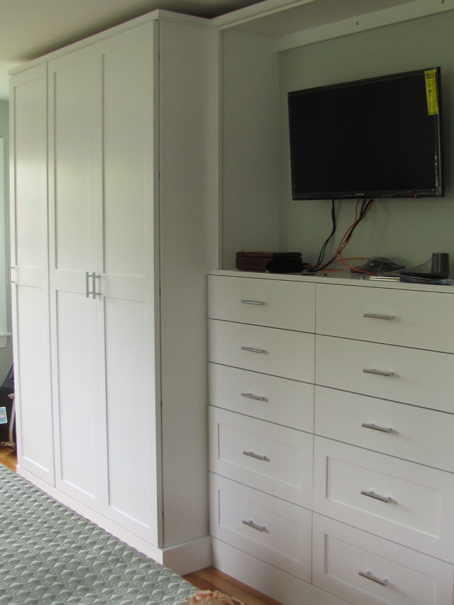 White Wardrobes Drawers And Media Area