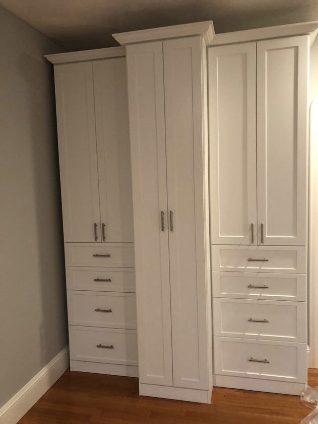 White Wardrobes Storage With Crown