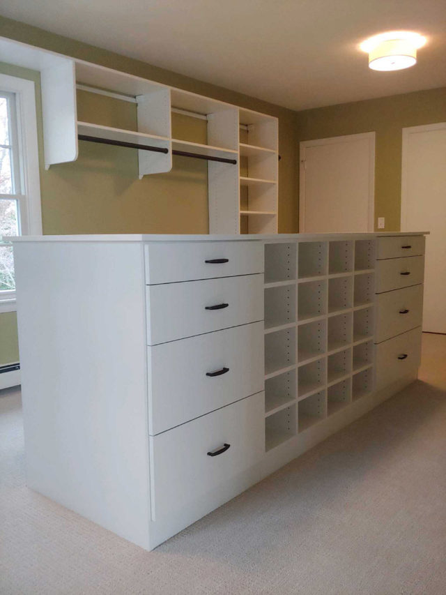 White With Flat Drawers , Cubbies In Island