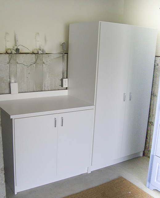 White Workbench And Storage Area
